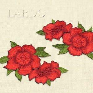 Аппликация красные цветы на веточке, термо