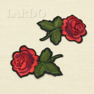 Аппликация красная роза с бутоном на веточке, термо