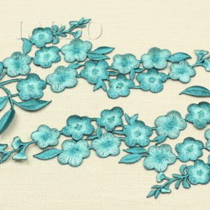 Аппликация бирюза цветы вышивка гладью, термо