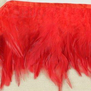 Тесьма куриное перо, красная