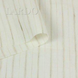 Лён молочный в полоску Италия Состав: лён 100 % Плотность ≈ 160 г/м ² Ширина 156 см