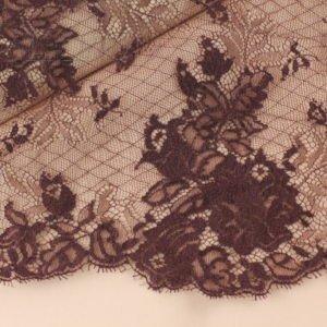 Кружево шантильи коричневое шир. 25 см