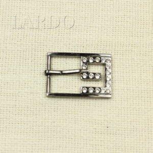Пряжка G металл тёмный никель/стразы 4,2 см х 3,0 см