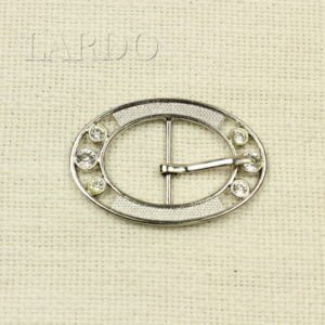Пряжка овальная металл никель/стразы 6,2 см х 4,2 см