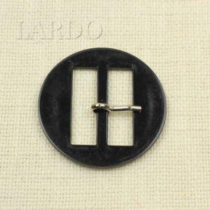 Пряжка круглая чёрная пластик/металл ∅ 6,3 см