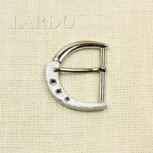 Пряжка металл цвета никель/стразы белые 4 см x 4,5 см