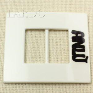 Пряжка белая пластик квадрат 8,5 см x 9,5 см