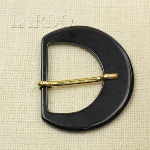 Пряжка чёрная пластик/металл золотистый 6,6 см x 7,8 см