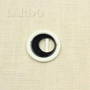 Пряжка круглая бело-чёрная пластик ∅ 4 см
