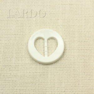 """Пряжка круглая белая пластик """"сердечко"""" ø 4 см"""