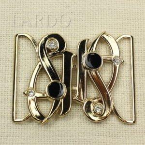 Пряжка разъёмная металл/чёрная эмаль/стразы 8,6 см x 6,4 см