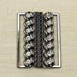 Пряжка разъёмная металл цвета тёмный никель, стразы 5,5 см x 7,5 см