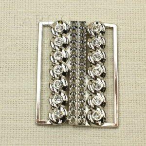 Пряжка разъёмная металл цвета никель, стразы 5,5 см x 7,5 см