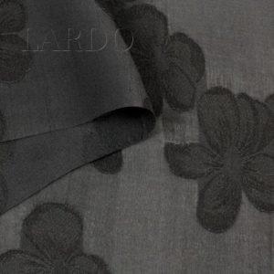 Шёлк деворе чёрный цветы