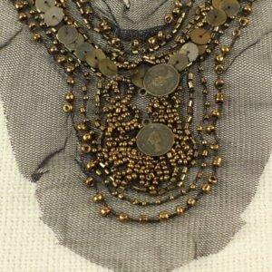 Воротник пришивной на сетке расшитый бисером, бусинами и монетами