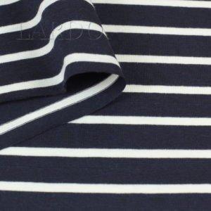 Трикотаж вискоза тёмно-синий в белую полоску