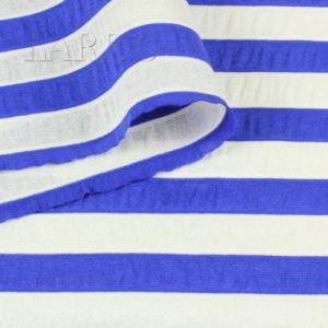 Трикотаж вискоза молочно-синяя полоска