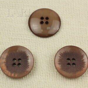 Пуговица пластик ∅ 4,0 см коричневая с перламутром