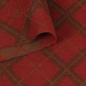 Шерсть костюмная красно-коричневые ромбы