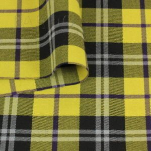 Костюмная вискоза стретч шотландка жёлто-чёрная