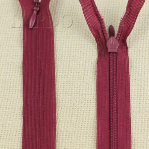 Молния ПОТАЙНАЯ KCC неразъёмная, однозамковая, 60 см, №3, светло-бордовая