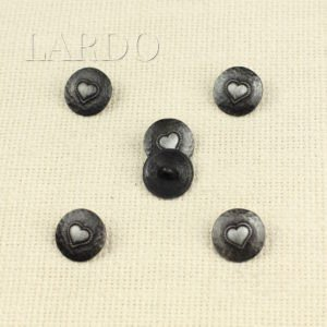 Пуговица металл никель матовый ∅ 1,8 см сердечко