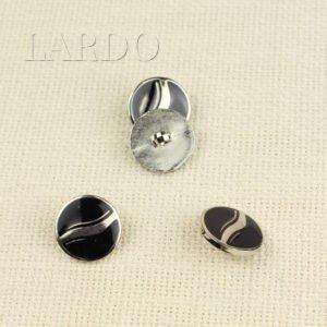 Пуговица на ножке металл стразы ∅ 1,5 см никель