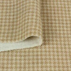 Шерсть пальтово-костюмная 2-х слойная бежевая в клетку пье-де-пюль