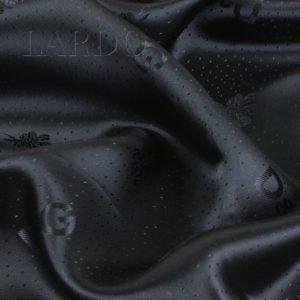 Подкладочная ткань вискоза тёмно-синяя, жаккардовый логотип D℘G