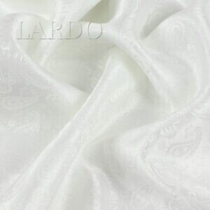 Подкладочная ткань белая, жаккард пейсли