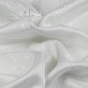 Подкладочная ткань вискоза белая, жаккард логотип HUGO