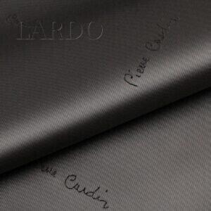 Подкладочная ткань вискоза серо-коричневая (тауп), жаккардовый логотип Pierre Cardine