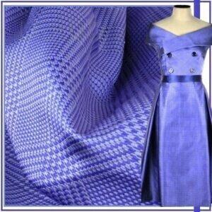 Тафта жаккард шёлковая синяя в клетку гленчек