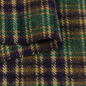Костюмная ткань шотландка фиолетово-зелёная