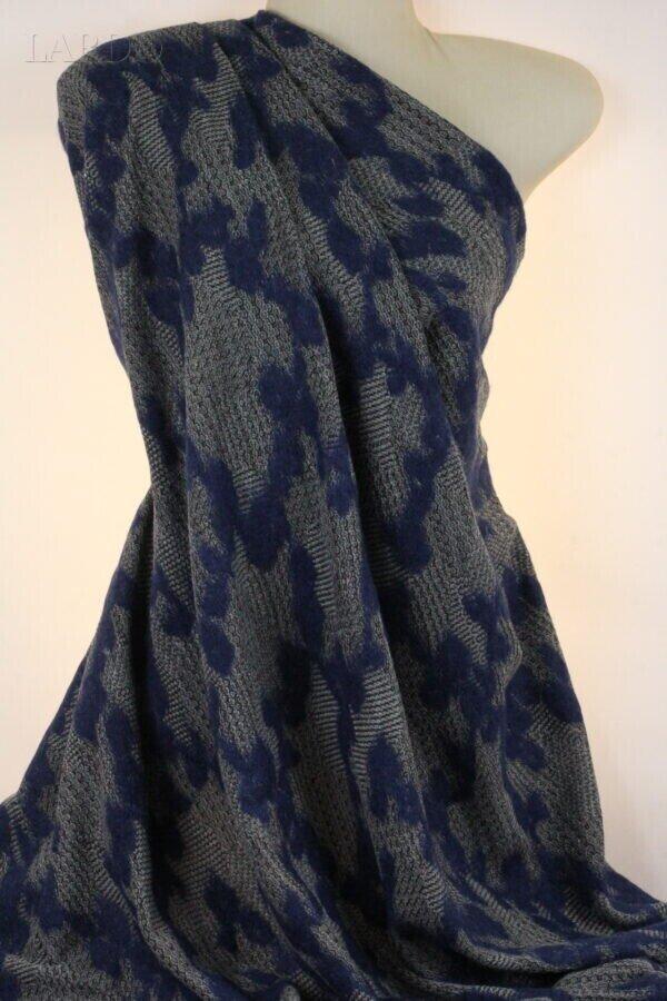 Трикотаж синий узор ромбы на меланже