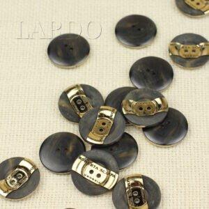 Пуговица пластик ∅ 2,2 см, ROBERTA SCARPA, чёрная с золотом