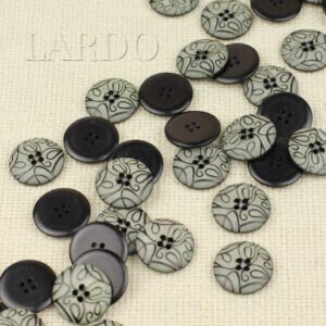 Пуговица пластик ∅ 2,0 см, серая с чёрным