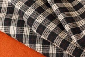 080 Пальтовая шерсть оранжевая/подкладка вискоза шанжан/костюмная шерсть в клетку