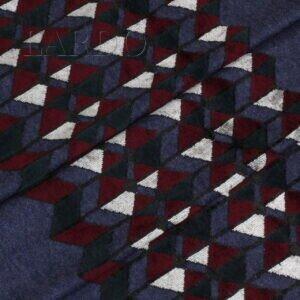 Трикотаж вискоза синий бархатная геометрия купон