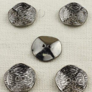 Пуговица пластик ∅ 3,8 см, тёмный никель