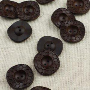 Пуговица пчелиные соты пластик ∅ 3,7 см, коричневая
