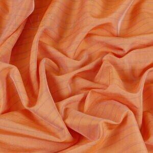 Шёлк плательный в сиреневую полоску Alta Moda апельсиновый