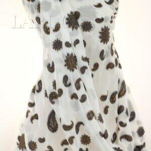 Шифон шёлковый вышивка филькупе медный люрекс