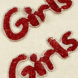 """Нашивка """"Girls"""" красные и белые стеклянные стразы"""