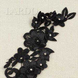 Нашивка цветы чёрные со стеклянными стразами