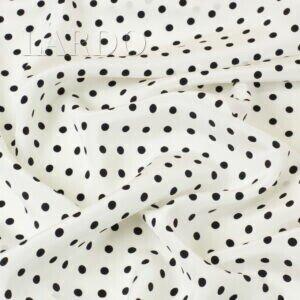 Крепдешин шёлковый белый в чёрный горошек