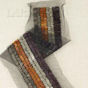 Воротник пришивной на сетке расшитый стеклярусом