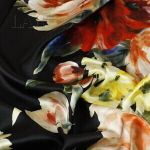 Атлас стретч шёлковый цветочный принт