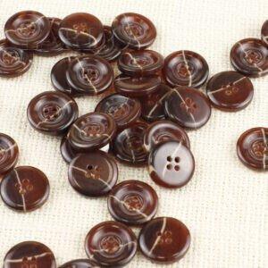 Пуговица пластик ∅ 2,0 см коричневая с полосой