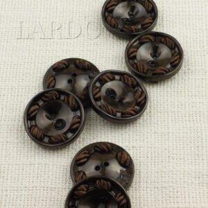 Пуговица пластик ∅ 3,3 см, коричневая с кантом
